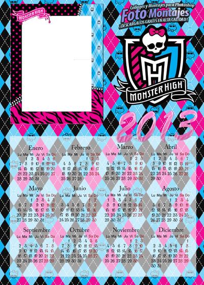 Calendario 2013 Monster High. Fotomontajes infantiles originales