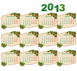 Calendarios 2013 sencillos para Imprimir
