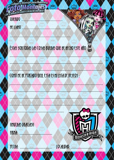 Carta a los Reyes Magos Monster High