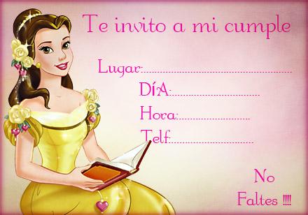 Invitación de Cumpleaños Disney para Chicas